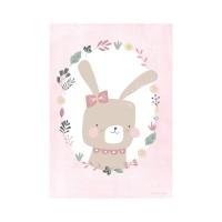 Plakat A3, kanin rosa/hvid